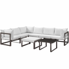 Modway Fortuna 8 Piece Outdoor Patio Aluminum Sectional Sofa Set in Brown White MY-EEI-1735-BRN-WHI-SET