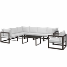 Modway Fortuna 8 Piece Outdoor Patio Aluminum Sectional Sofa Set in Brown White MY-EEI-1736-BRN-WHI-SET