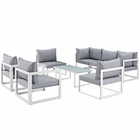 Modway Fortuna 8 Piece Outdoor Patio Aluminum Sectional Sofa Set in White Gray MY-EEI-1725-WHI-GRY-SET