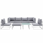 Modway Fortuna 8 Piece Outdoor Patio Aluminum Sectional Sofa Set in White Gray MY-EEI-1728-WHI-GRY-SET