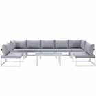 Modway Fortuna 8 Piece Outdoor Patio Aluminum Sectional Sofa Set in White Gray MY-EEI-1730-WHI-GRY-SET