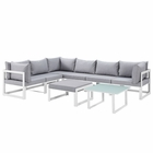 Modway Fortuna 8 Piece Outdoor Patio Aluminum Sectional Sofa Set in White Gray MY-EEI-1735-WHI-GRY-SET