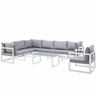 Modway Fortuna 8 Piece Outdoor Patio Aluminum Sectional Sofa Set in White Gray MY-EEI-1736-WHI-GRY-SET