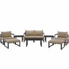 Modway Fortuna 9 Piece Outdoor Patio Aluminum Sectional Sofa Set in Brown Mocha MY-EEI-1719-BRN-MOC-SET