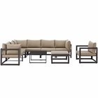 Modway Fortuna 9 Piece Outdoor Patio Aluminum Sectional Sofa Set in Brown Mocha MY-EEI-1734-BRN-MOC-SET