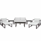Modway Fortuna 9 Piece Outdoor Patio Aluminum Sectional Sofa Set in Brown White MY-EEI-1719-BRN-WHI-SET