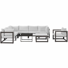 Modway Fortuna 9 Piece Outdoor Patio Aluminum Sectional Sofa Set in Brown White MY-EEI-1734-BRN-WHI-SET