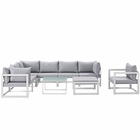 Modway Fortuna 9 Piece Outdoor Patio Aluminum Sectional Sofa Set in White Gray MY-EEI-1734-WHI-GRY-SET