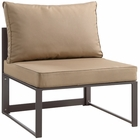 Modway Fortuna Armless Outdoor Patio Aluminum Sectional Sofa in Brown Mocha MY-EEI-1520-BRN-MOC