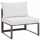 Modway Fortuna Armless Outdoor Patio Aluminum Sectional Sofa in Brown White MY-EEI-1520-BRN-WHI