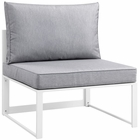 Modway Fortuna Armless Outdoor Patio Aluminum Sectional Sofa in White Gray MY-EEI-1520-WHI-GRY