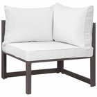 Modway Fortuna Corner Outdoor Patio Aluminum Sectional Sofa in Brown White MY-EEI-1518-BRN-WHI