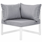 Modway Fortuna Corner Outdoor Patio Aluminum Sectional Sofa in White Gray MY-EEI-1518-WHI-GRY