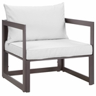 Modway Fortuna Outdoor Patio Aluminum Armchair in Brown White MY-EEI-1517-BRN-WHI
