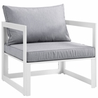 Modway Fortuna Outdoor Patio Aluminum Armchair in White Gray MY-EEI-1517-WHI-GRY
