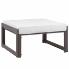 Modway Fortuna Outdoor Patio Aluminum Ottoman in Brown White MY-EEI-1521-BRN-WHI