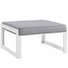 Modway Fortuna Outdoor Patio Aluminum Ottoman in White Gray MY-EEI-1521-WHI-GRY