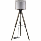 Modway Fortune Pine Wood and Steel Floor Lamp in Antique Silver MY-EEI-1571