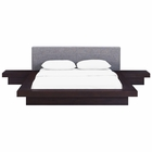 Modway Freja 3 Piece Queen Upholstered Fabric Bedroom Set in Cappuccino Gray MY-MOD-5492-CAP-GRY-SET