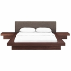 Modway Freja 3 Piece Queen Upholstered Fabric Bedroom Set in Walnut Brown MY-MOD-5492-WAL-BRN-SET