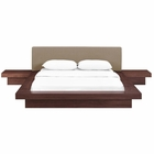 Modway Freja 3 Piece Queen Upholstered Fabric Bedroom Set in Walnut Latte MY-MOD-5492-WAL-LAT-SET