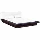 Modway Freja Queen Faux Leather Platform Bed in Cappuccino White MY-MOD-5722-CAP-WHI-SET