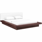Modway Freja Queen Faux Leather Platform Bed in Walnut White MY-MOD-5722-WAL-WHI-SET