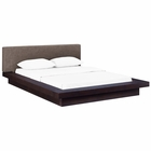 Modway Freja Queen Upholstered Fabric Platform Bed in Cappuccino Brown MY-MOD-5721-CAP-BRN-SET