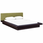 Modway Freja Queen Upholstered Fabric Platform Bed in Cappuccino Green MY-MOD-5721-CAP-GRN-SET