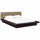 Modway Freja Queen Upholstered Fabric Platform Bed in Cappuccino Latte MY-MOD-5721-CAP-LAT-SET