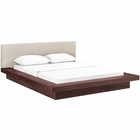 Modway Freja Queen Upholstered Fabric Platform Bed in Walnut Beige MY-MOD-5721-WAL-BEI-SET