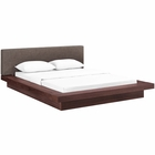 Modway Freja Queen Upholstered Fabric Platform Bed in Walnut Brown MY-MOD-5721-WAL-BRN-SET