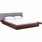 Modway Freja Queen Upholstered Fabric Platform Bed in Walnut Gray MY-MOD-5721-WAL-GRY-SET