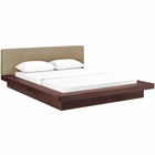 Modway Freja Queen Upholstered Fabric Platform Bed in Walnut Latte MY-MOD-5721-WAL-LAT-SET