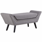 Modway Gambol Upholstered Fabric Bench in Light Gray MY-EEI-2575-LGR