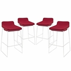 Modway Garner Bar Stool Upholstered Fabric Set of 4 in Red MY-EEI-1365-RED