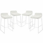 Modway Garner Bar Stool Upholstered Fabric Set of 4 in White MY-EEI-1365-WHI