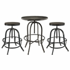 Modway Gather 3 Piece Pine Wood and Iron Dining Set in Black MY-EEI-1602-BLK-SET