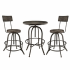 Modway Gather 3 Piece Pine Wood and Iron Dining Set in Black MY-EEI-1604-BLK-SET