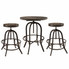 Modway Gather 3 Piece Pine Wood and Iron Dining Set in Brown MY-EEI-1602-BRN-SET