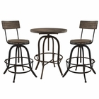 Modway Gather 3 Piece Pine Wood and Iron Dining Set in Brown MY-EEI-1604-BRN-SET