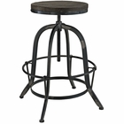 Modway Gather 5 Piece Pine Wood and Iron Dining Set in Black MY-EEI-1606-BLK-SET