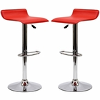 Modway Gloria Bar Stools Faux Leather Set of 2 in Red MY-EEI-937-RED