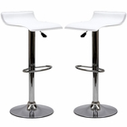 Modway Gloria Bar Stools Faux Leather Set of 2 in White MY-EEI-937-WHI