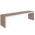 Modway Gridiron Large Wood Inlay Bench in Walnut MY-EEI-1430-WAL