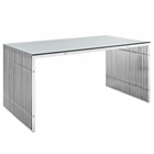 Modway Gridiron Stainless Steel Rectangle Dining Table in Silver MY-EEI-1433-SLV