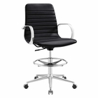 Modway Groove Ribbed Back Faux Leather Drafting Chair in Black MY-EEI-2863-BLK