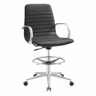 Modway Groove Ribbed Back Faux Leather Drafting Chair in Gray MY-EEI-2863-GRY