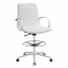 Modway Groove Ribbed Back Faux Leather Drafting Chair in White MY-EEI-2863-WHI
