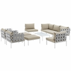 Modway Harmony 10 Piece Outdoor Patio Aluminum Sectional Sofa Set in White Beige MY-EEI-2616-WHI-BEI-SET